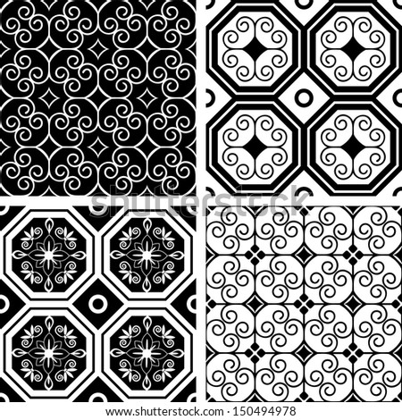 Decorative seamless floral patterns collection - stock vector
