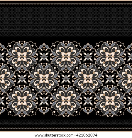 Decorative seamless golden border on white background. Ornate element for design. Ornamental lace pattern for invitations and greeting cards. Traditional floral decor. - stock vector