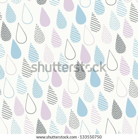 Decorative seamless ornamental texture with drops. Endless delicate abstract pattern. Template for design textile, backgrounds, wrappers, covers, package - stock vector