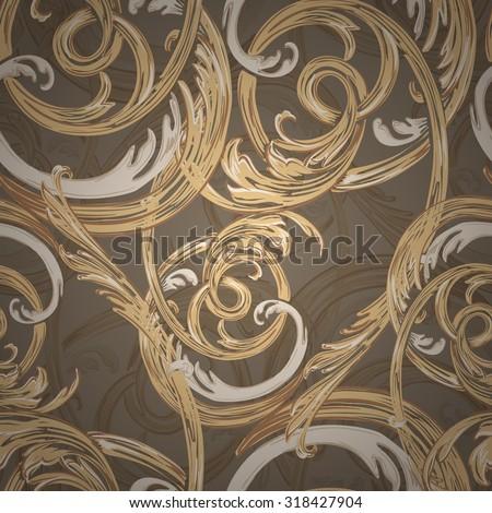 Decorative seamless pattern, barocco style. - stock vector