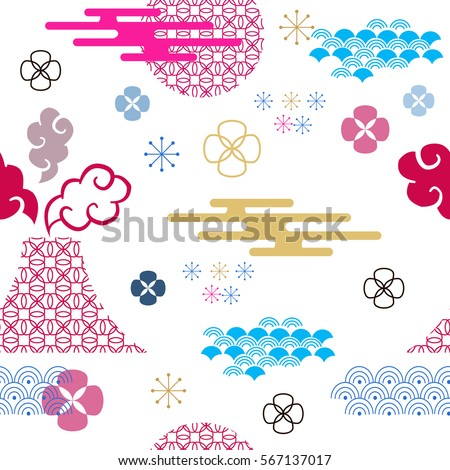 Decorative seamless pattern with asian elements.Asian , japanese, chinese  background.Chinese elements