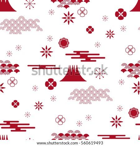 Decorative seamless pattern with asian elements. Chinese, japanese elements.  Stylish trendy fabric.