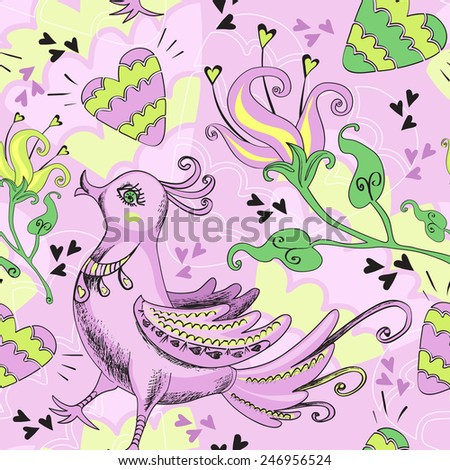 Decorative seamless pattern with fairytale birds, hearts and stylized flowers  - stock vector