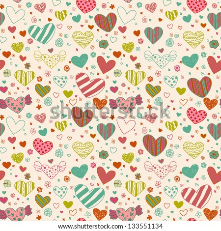 Decorative seamless pattern with hearts and flowers. Curly endless texture, template for design and decoration - stock vector