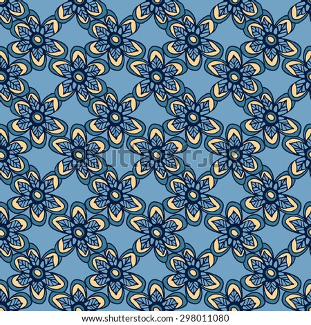 Decorative seamless pattern with leaves and flowers. Template for design wrappers, package, textile and backgrounds.