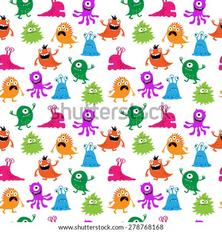 Decorative seamless pattern with multi-colored monsters - stock vector