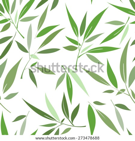 Decorative seamless pattern with stylized green leaves  - stock vector