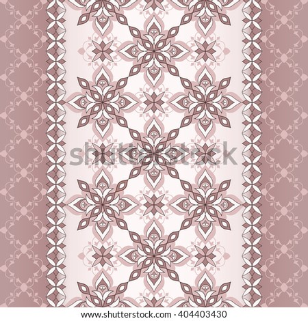 Decorative seamless white brown border on beige brown background.   Element for design. Ornamental backdrop. Pattern fill. Ornate floral decor for wallpaper. Traditional decor on  background. - stock vector
