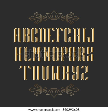 Decorative serif latin font. Graphical vintage capital letters. Golden isolated objects.  - stock vector