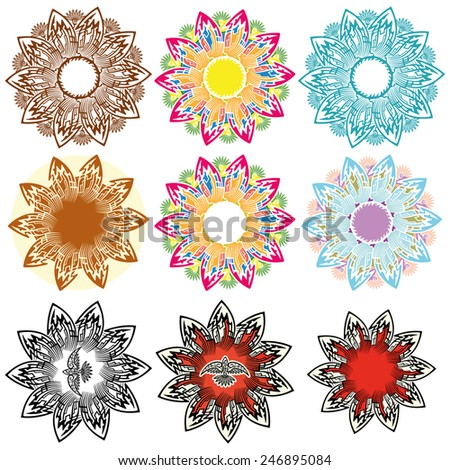 Decorative set Geometric shapes as detailed multicolored decorative flowers.