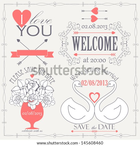 Decorative set of artistic wedding elements and signs in retro colors. Vector illustration - stock vector