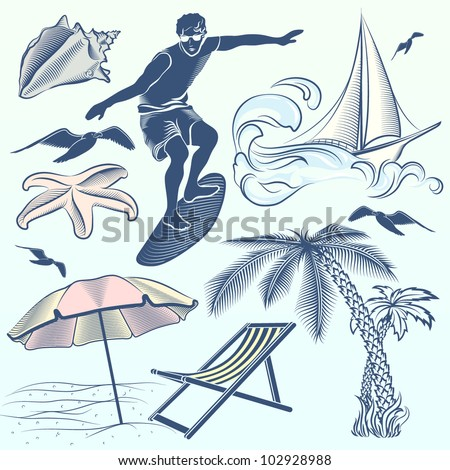 Decorative Set: Summer Beach - stock vector