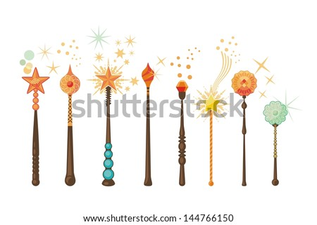 Decorative set with magic wands in various shapes - stock vector