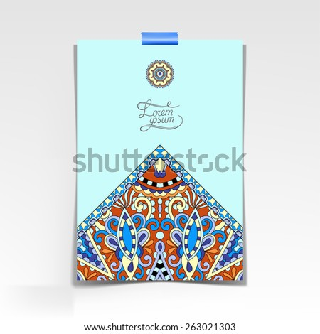 decorative sheet of paper with oriental floral design and place for your text, vector illustration in blue color
