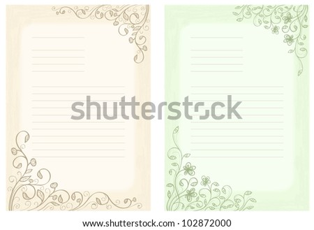 Decorative sheets for letters - stock vector
