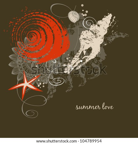 Decorative shells vector background - stock vector