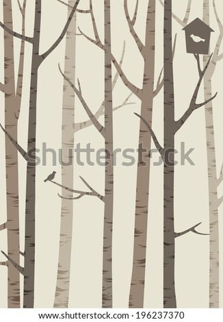 decorative silhouettes of trees with a bird and birdhouse,  light brown tones - stock vector