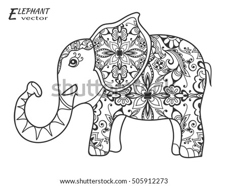 decorative sketch elephant hand drawn stylized fantasy animal zen tangle style art