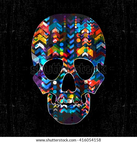 Decorative skull with abstract elements on grunge black background. vector illustration