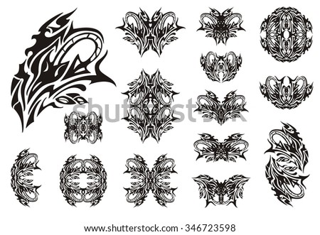 Decorative snake symbols. Set of snake symbols, butterflies and frames. The coiling snake in a grass - stock vector