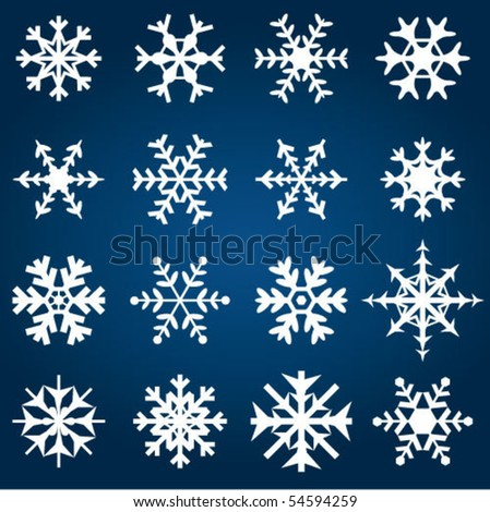Decorative Snowflakes Vector Illustration - stock vector