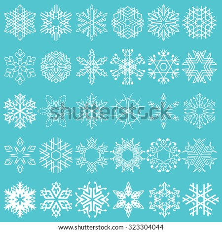 Decorative snowflakes vector shapes set for winter and Christmas projects.