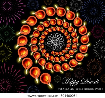 Decorative Spiral Traditional Diwali Lamps Arrangement