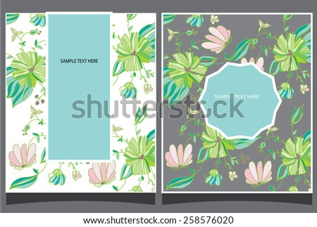 decorative spring background with two greeting cards with flowers and text - stock vector