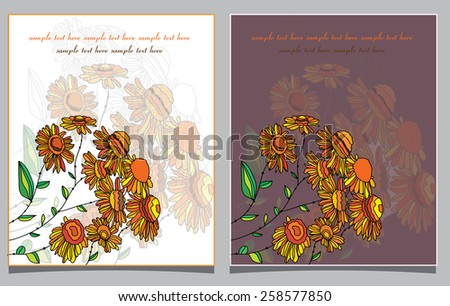 decorative spring background with two greeting cards with orange daisies and text  - stock vector