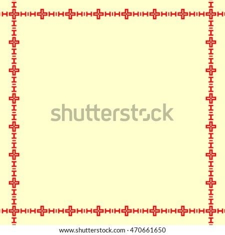 Decorative square frame with abstract geometric ornament on yellow background. Red  ethnic border. Layout for your design with place for text. Vector illustration