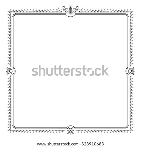 Decorative square frame with swirls and leaves.