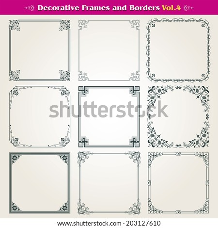 Decorative square frames and borders vector set 4 - stock vector
