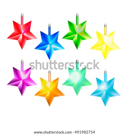 Decorative Stars for christmas tree vector illustration