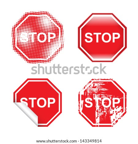 Decorative Stop Signs - stock vector
