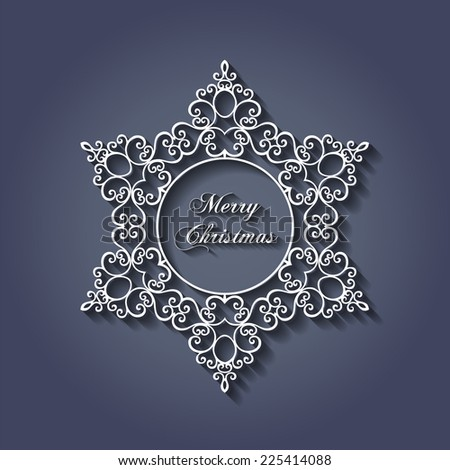 Decorative Stylish Christmas Snowflake Design with Shadows - EPS10 Vector - stock vector