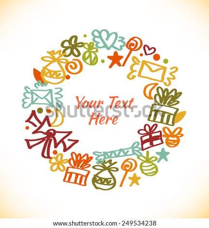 Decorative stylish round garland. Ornate wreath with gifts, letters, love symbols, bows and many cute details. - stock vector
