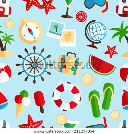 Decorative summer tropical vacation symbols of beach watermelon cocktail souvenir wrap paper seamless pattern abstract vector illustration - stock vector