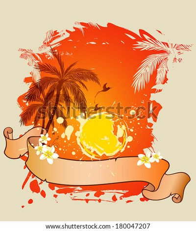 Decorative summer vector background with palms and sun