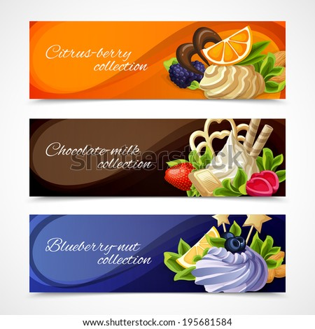 Decorative sweet desserts horizontal banners citrus berry chocolate milk blueberry nut collection vector illustration - stock vector