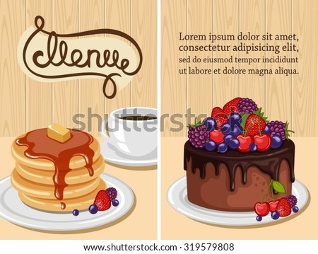 Decorative sweets vertical retro tearoom banners collection with crepes and sponge cake isolated vector illustration - stock vector