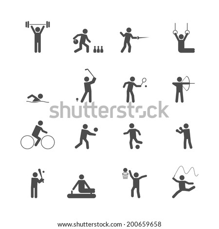 Decorative swimming boxing weihgtlifting sport symbols internet icons set silhouette graphic isolated vector illustration - stock vector