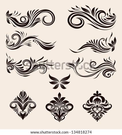 Decorative Swirl Ornament Set - stock vector