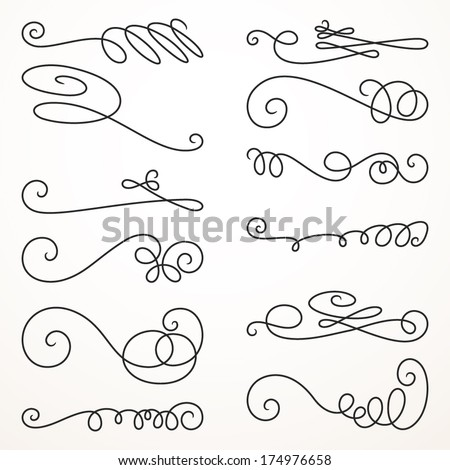 Decorative swirls; vector set 8; vintage borders, vignettes; scroll elements  - stock vector