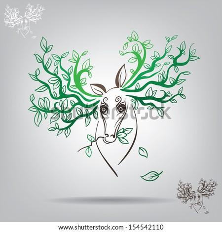 decorative symbol of a deer with vegetative elements - stock vector