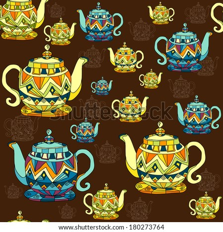 decorative  teapots pattern - stock vector