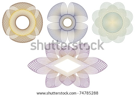 Decorative templates for processing of documents. Consists of four different decorative patterns. - stock vector