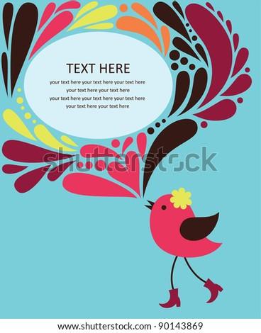 decorative text frame with bird. vector illustration - stock vector