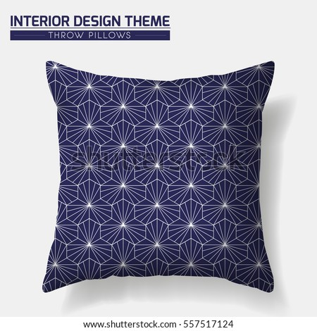Decorative Throw Pillow design template. Geometric pattern in traditional Japanese style is complete masked