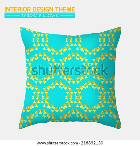 Decorative Throw Pillow design template. Original Triangle seamless pattern is complete, masked. Modern interior design element. Creative Sofa Toss Pillow. Editable eps10 contains the pattern swatch.  - stock vector