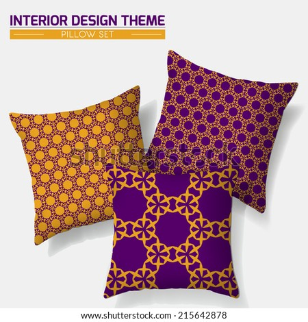 Decorative Throw Pillow matching set design. Original seamless pattern is complete, masked. Modern Interior design element. Layered vector design template. Editable eps10 contains the pattern swatch. - stock vector